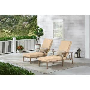 Beachside Rope Look Wicker Outdoor Patio Chaise Lounge with Sunbrella Beige Tan Cushions (2-Pack)