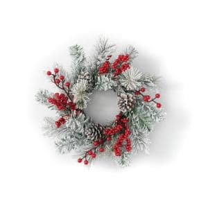 16 in. Artificial Pine and Berry Mini Wreath