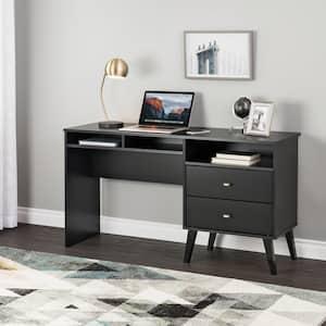 Milo 55 in. Mid Century Modern Black 2 Drawer Computer Desk with Side Storage
