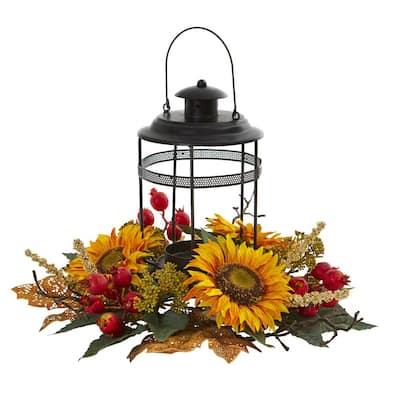 Sunflower Berry Artificial Arrangement Candelabrum