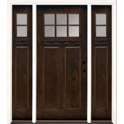 67.5 in.x81.625 in. 6 Lt Clear Craftsman Stained Chestnut Mahogany Left-Hand Fiberglass Prehung Front Door w/Sidelites