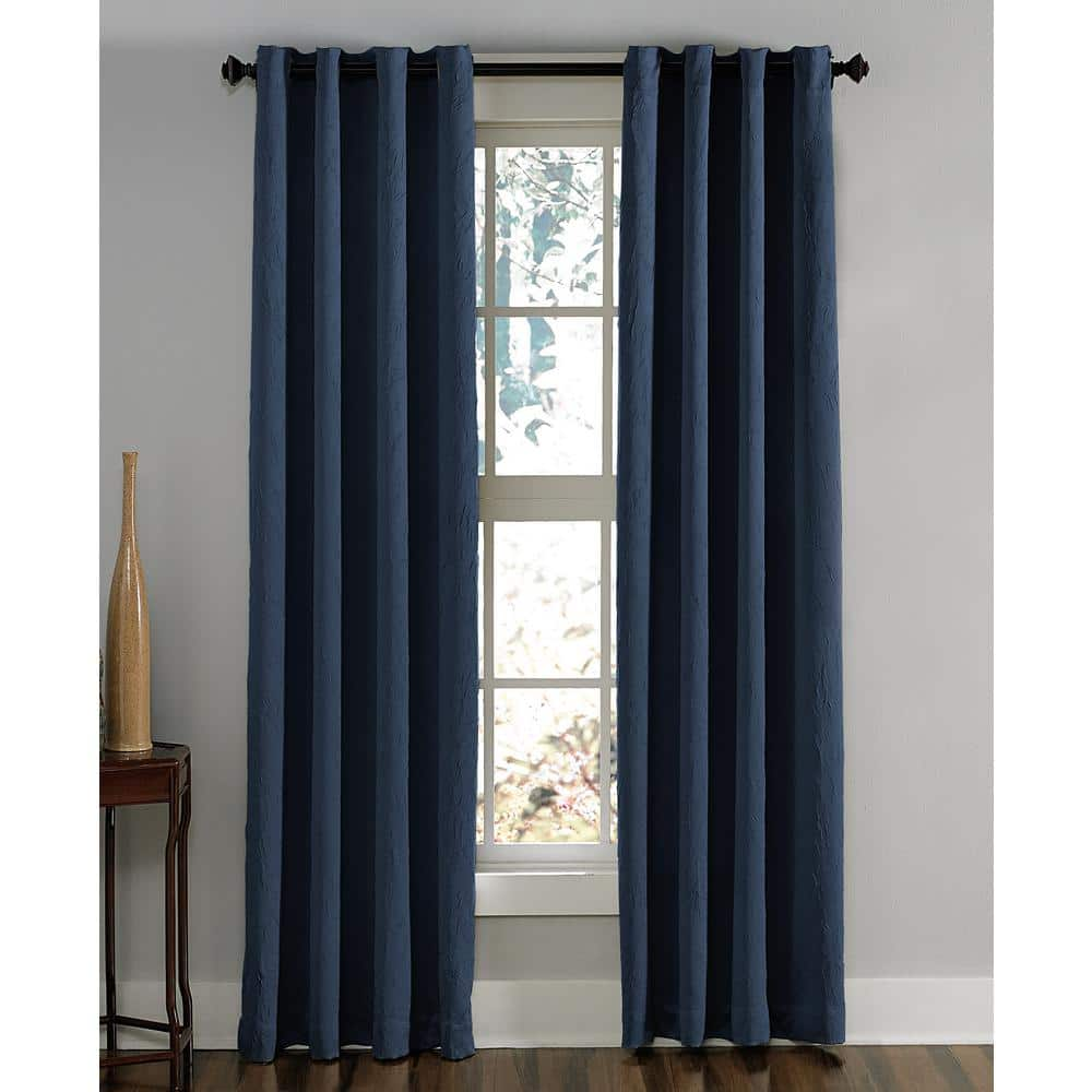 Curtainworks Navy Solid Grommet Room Darkening Curtain 50 In W X 132 In L 1q806303ny The Home Depot