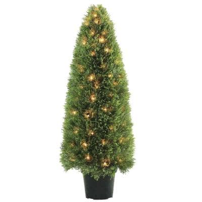 48 in. Upright Juniper Tree with Green Round Growers Pot with 100 Clear Lights