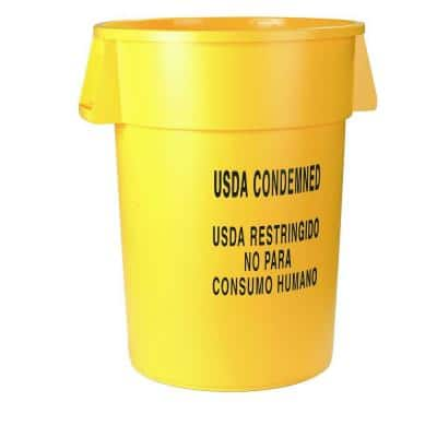 Bronco 32 Gal. Yellow Round Trash Can Imprinted with USDA Condemned (4-Pack)