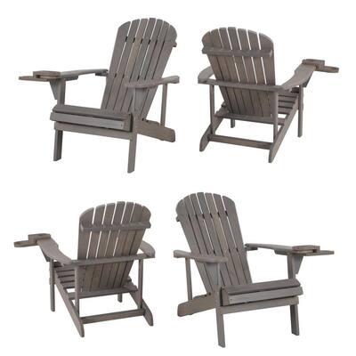 Classic Dark Grey Wood Adirondack Chair (4-Pack)