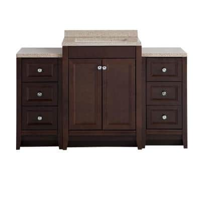 Delridge Bath Suite with 24 in. W Bathroom Vanity, Vanity Top, and 2 Linen Towers in Chocolate