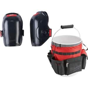 Flexible Knee Pads with Bucket Organizer Tool Bag