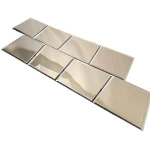 Reflections Gold Beveled Square 8 in. x 8 in. Glass Mirror Wall Tile (1.77 sq. ft./Case)