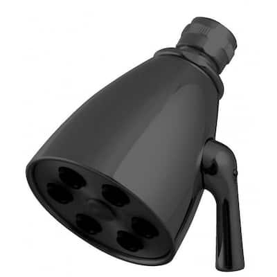 2-Spray Patterns 2.3 in. Single Tub Wall Mount Adjustable Fixed Shower Head in Matte Black