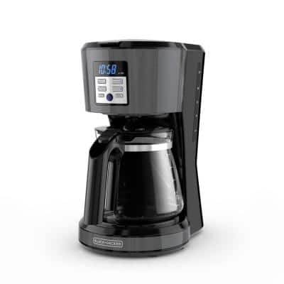 12-Cup Black Stainless Steel Coffee Maker with VORTEX Technology