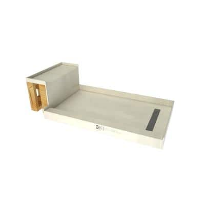 Base'N Bench 30 in. x 72 in. Single Threshold Shower Base and Bench Kit with Right Drain and Tileable Grate