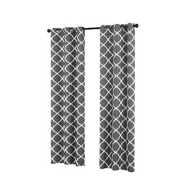 Fret 42 in. W x 84 in. L Blackout Window Curtain in Smoke