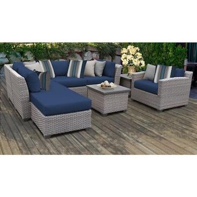 Tk Classics Outdoor Lounge Furniture, Corvus 8 Piece Grey Wicker Patio Furniture Set With Blue Cushions