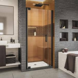 Elegance-LS 34-1/2 in. to 36-1/2 in. W x 72 in. H Frameless Pivot Shower Door in Satin Black