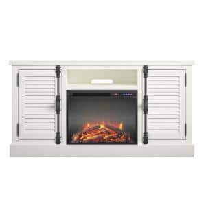 Heathrow 59 in. Electric Fireplace TV Stand in White