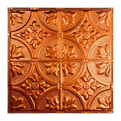 Jamestown 2 ft. x 2 ft. Nail Up Metal Ceiling Tile in Copper (Case of 5)