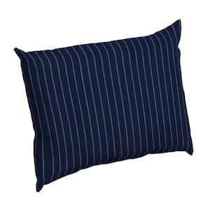 Navy Woven Stripe Rectangle Outdoor Throw Pillow