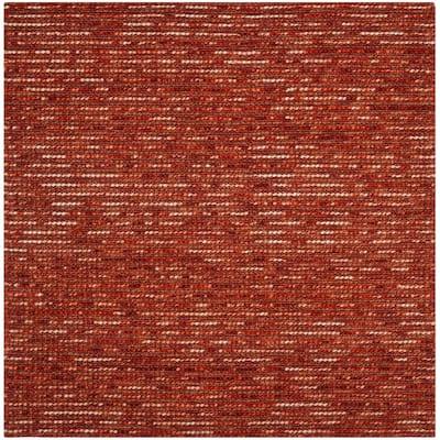 Bohemian Rust/Multi 6 ft. x 6 ft. Square Striped Area Rug