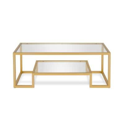 Athena 45 in. Brass/Clear Large Rectangle Glass Coffee Table with Shelf