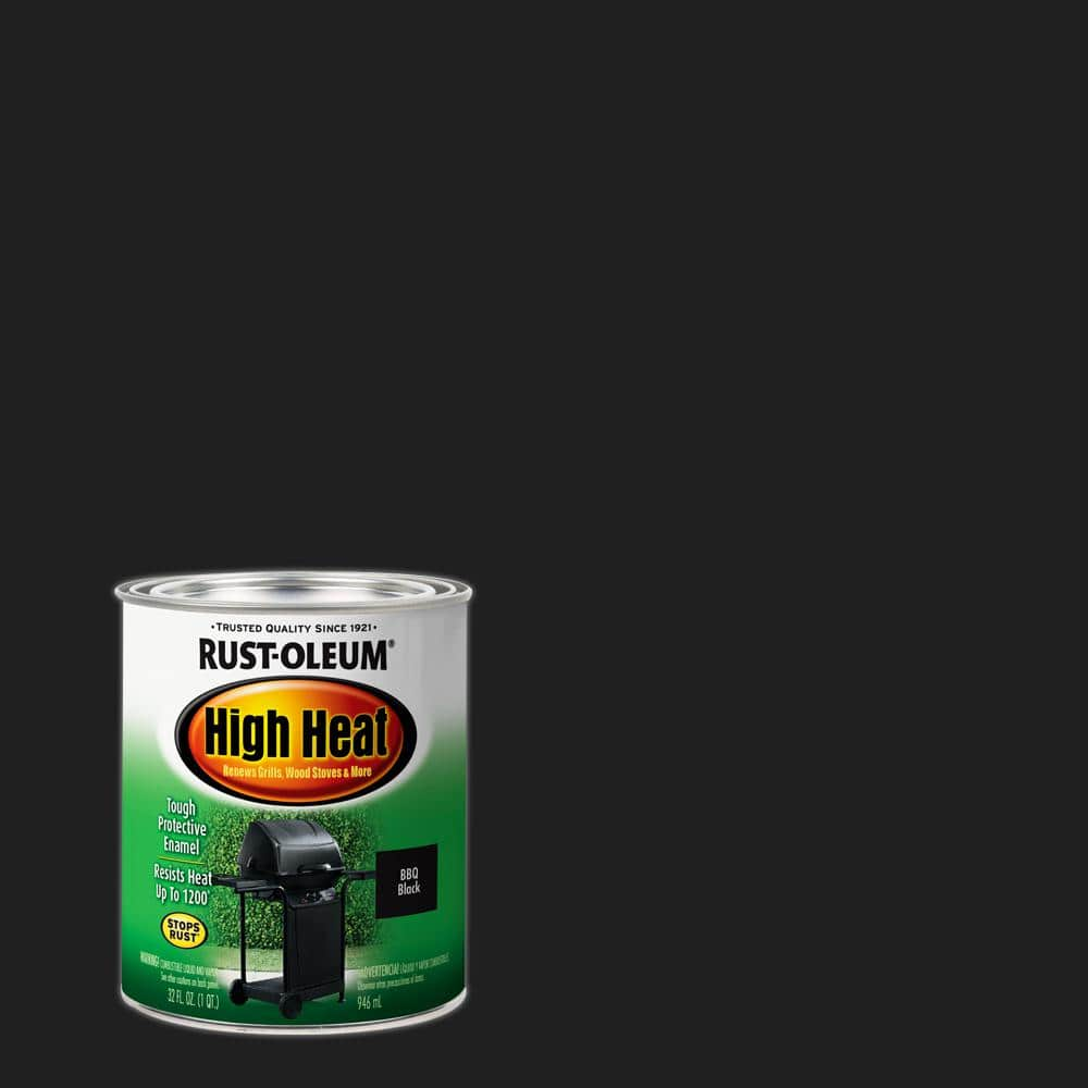 Rust Oleum Specialty 1 Qt High Heat Satin Bar B Que Black Enamel Paint 7778502 The Home Depot