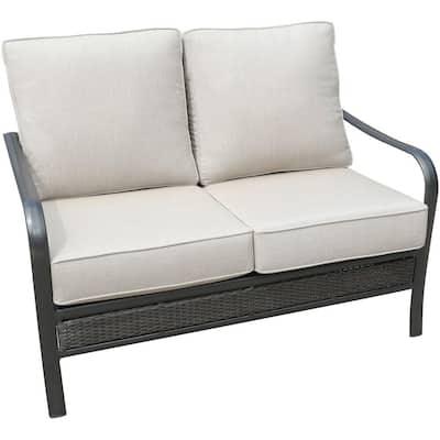 Oakmont Commercial Rust-Free Aluminum/Woven Outdoor Loveseat with Plush Sunbrella Tan Cushions