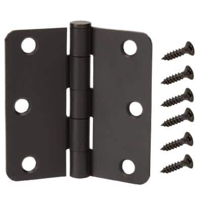 3-1/2 in. and 1/4 in. Radius Matte Black Smooth Action Hinge (3-Pack)