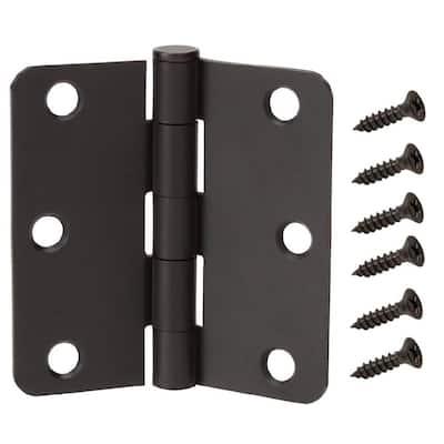 3-1/2 in. x 1/4 in. Radius Matte Black Squeak-Free Door Hinge (3-Pack)
