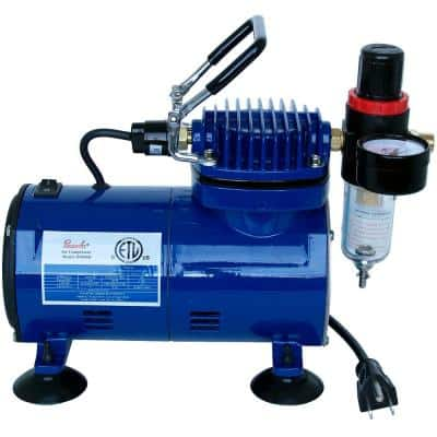 1/5 HP Electric Oilless Air Compressor with Regulator Moisture Trap and Auto Shutoff for Use with an Airbrush