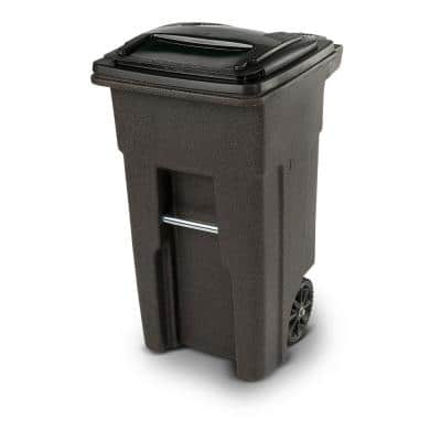 32 Gal. Brownstone Trash Can with Wheels and Attached Lid