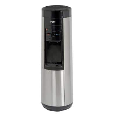Bottleless Point-of-Use Hot/Room/Cold Water Dispenser in Black and Stainless with Single-Stage Water Filtration System