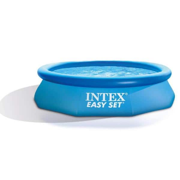 Intex 10 Ft X 30 In Round 2 5 Ft D Easy Set Inflatable Round Plastic Family Swimming Pool And Pump 28121eh Wmt The Home Depot