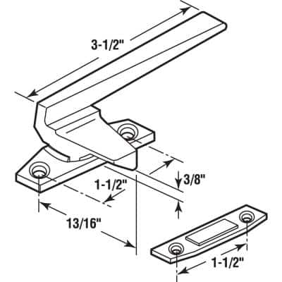 Right-Handed, Aluminum, Casement Locking Handle with Offset Base