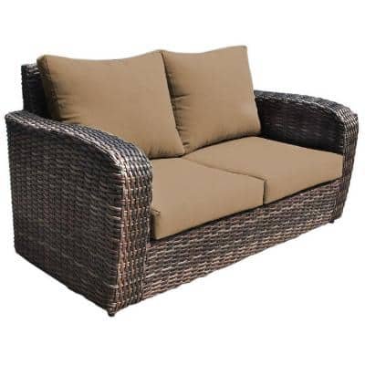 Acapulco 1-Piece Wicker Outdoor Loveseat with Olefin Brown Cushions
