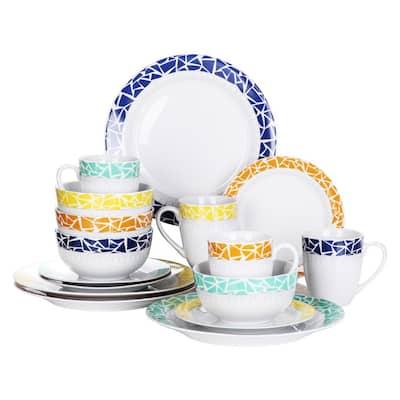 16- Piece Modern Cracked Glaze Belt Assorted Colors Porcelain Dinnerware Sets (Service for Set for 4)