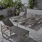 Hampton Light Grey 4-Piece Wood Outdoor Chaise Lounge