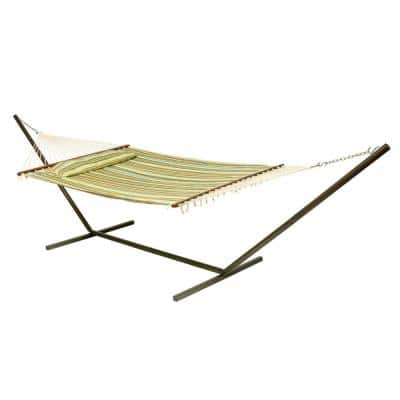 Coronado 156 in. Quilted Cotton Double Hammock Bed Only with Matching Pillow in Green Beach Stripe