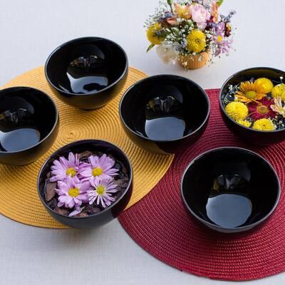 Actual 20.29 oz. Black Earthenware Soup Bowls (Set of 6)