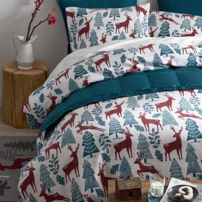 Legends Hotel Reindeer Velvet Multicolored Cotton Flannel Standard Pillowcase (Set of 2)