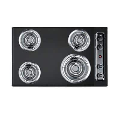 30 in. Coil Electric Cooktop in Black with 4-Elements