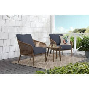 Coral Vista 3-Piece Brown Wicker Outdoor Patio Bistro Set with CushionGuard Sky Blue Cushions