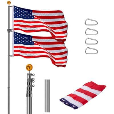 Extra Thick 25 ft. Aluminum Telescoping FlagPole Kit with 3x5 American Flag and Golden Ball