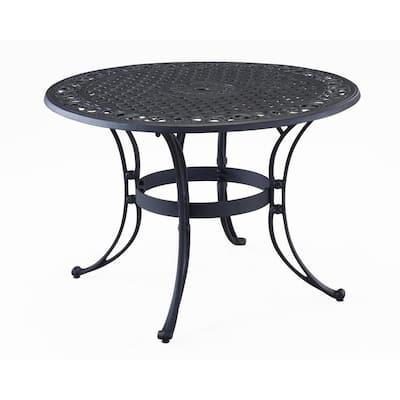 Sanibel 42 in. Black 5-Piece Cast Aluminum Round Outdoor Dining Set