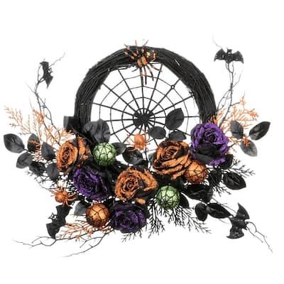 24 in. Halloween Rose Half Wreath