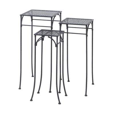 New Traditional Pierced Iron Plant Stands in Charcoal (Set of 3)