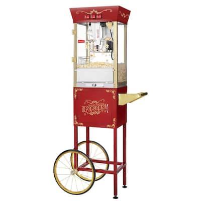 Matinee Movie 8 oz. Antique Red Popcorn Machine with Cart