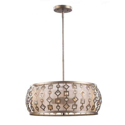 Sadra 4-Light Silver and Gold Pendant