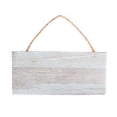 Project Craft Hanging Whitewashed Blank Wood Plank Plaque for Signs and Decor, 12 in. x 5.5 in.