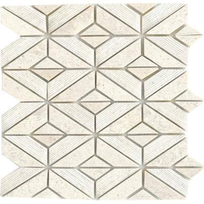 Limestone Presidio Ivory Ivory 11.81 in. x 12.4 in. Geometric Honed Limestone Mosaic Tile (1.017 sq. ft./Each)