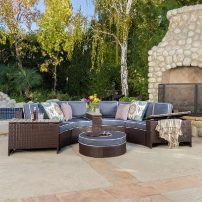 Lachlan Brown 8-Piece Wicker Outdoor Sectional Set with Navy Blue Cushions and Ice Bucket