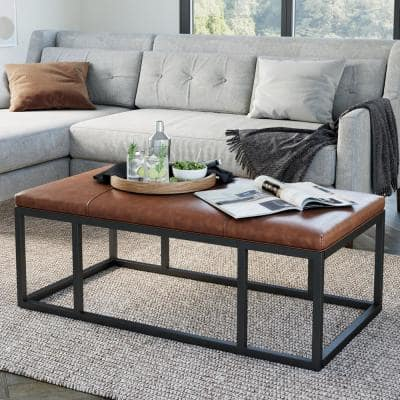 Nelson 47 in. Warm Brown/Black Large Rectangle Wood Coffee Table with Storage